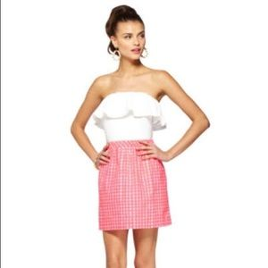 Lilly pulitzer Athens Pink Gingham strapless small